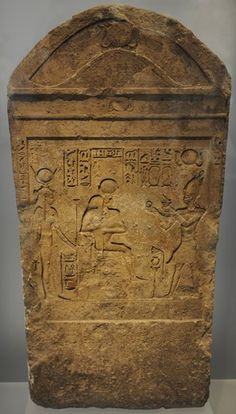 Egyptian Art. Ptolemaic period (332-30 BCE). Stele. King sacrificing to Isis and Serapis. Relief. Ny Carlsberg Glyptotek. Copenhagen. Denmark.
