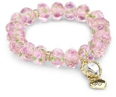 "Betsey Johnson ""Tzarina Princess"" Pink Flower Bead Stretch Bracelet"
