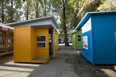 They are no larger than 64 square feet, provide shelter and a warm place for the homeless to sleep. Cost less than $1,500 (CAD) each to build.
