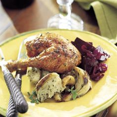 Roast Chicken Stuffed with Fennel and Garlic