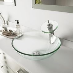 VIGO Glass Vessel Bathroom Sink in Clear Crystalline Glass with Waterfall Faucet Set in Brushed - The Home Depot Glass Bathroom Sink, Glass Sink, Glass Waterfall, Waterfall Faucet, Home Depot, Safe Glass, Glass Vessel Sinks, Refinish Kitchen Cabinets, Crystals