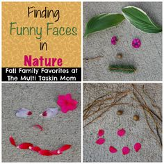 Go for a nature walk with your kids this fall and collect items to create and find funny faces in nature!