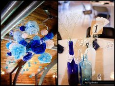 Wedding Photography  Blue Wedding Decorations  Homemade Wedding Decor  DIY