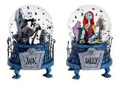 jack and sally nightmare before christmas snowglobes