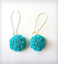 Pom Pom Earrings - Turquoise