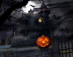 Haunted House Wallpaper With Jack O Lantern Halloween Backgrounds Photo