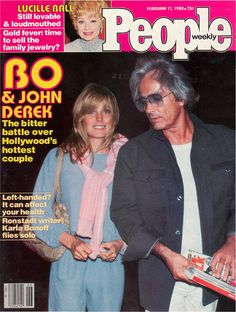 People magazine, February 11, 1980 — Bo  John Derek — On an audition trail, 16-year-old Bo met director John Derek, 30 years her senior, in 1972. John divorced his wife, actress Linda Evans, and John  Bo moved to Germany to avoid John's being charged with statutory rape. The couple returned to America soon after Bo's 18th birthday, and they married in 1976. They remained married until his death in 1998.