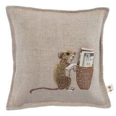 Coral and Tusk - mouse tooth fairy pillow. Maybe one w/ the tooth fairy appliqué! Coral And Tusk, Sewing Crafts, Sewing Projects, Tooth Fairy Pillow, Tooth Pillow, Pin Cushions, Little Ones, Machine Embroidery, Decorative Pillows