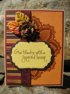 Love the fall card done with the Hello Doily stamp set by Stampin' Up!