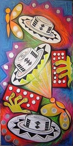 """Remembranzas Macondianas (Mariposas Esperanza), painting, Yarime Lobo Baute, 2010, Valledupar  Colombia  FACTOR DE INSPIRACION:  """"Animados por el Espiritu comuniquemos la ESPERANZA""""  By: Juan Pablo II    Los ardientes y musicales valles son la cuna de los mariposarios, los cuales emergen paseandose entre sombreros, cantos y risas con esperanzas amorosas de redención y florecimiento de esa macondo sin peste, odio y guerra, en donde sobreabunda la leche y la miel para todos al son... Colombian Art, Pride And Glory, Colombia Travel, Figure Painting, Holidays And Events, Folklore, Mixed Media Art, Art Lessons, Origami"""