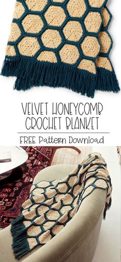 Yarnspirations is the spot to find countless free easy crochet patterns, including the Bernat Velvet Honeycomb Crochet Blanket. Browse our large free collection of patterns & get crafting today! Crochet Afghans, Modern Crochet Blanket, Afghan Crochet Patterns, Crochet Yarn, Crochet Crafts, Crochet Stitches, Crochet Projects, Crochet Hexagon Blanket, Hexagon Quilt