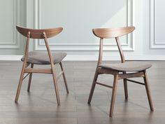 Drewniane krzesło tapicerowane szare - krzesło do jadalni, kuchni - LYNN