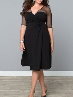 Elegant Sexy Mesh Knee-Length A-Line Dress 3 Colors-Loluxe
