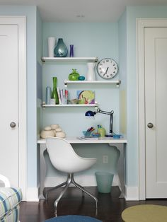 Small Space Trick: Turn a nook into a built-in work station. From HGTV's Sarah Richardson's Mid-Century Home, Take a Tour --> http://www.hgtv.com/decorating-basics/sarahs-house-a-mid-century-home-gets-a-stylish-makeover/pictures/page-12.html?soc=pinterest