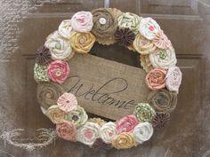 Spring Rosette Wreath. $55.50, via Etsy.