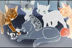 Bluestar joining Starclan and reuniting with her lost kit MossKit, OakHeart (brown) her RiverClan mate that died her mother, MoonFlower (gray/black) her sister, SnowFur (white/black ears) and the orange cat... i dont know who that is. <--- I would imagine it's Sunstar?