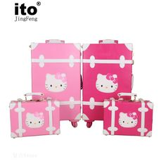 Women Vintage Trolley Luggage Travel Bag Hello Kitty Luggage Universal Wheels Luggage Sets Travel Suitcase 20&quot