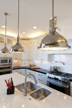 Love the pendant lighting from Restoration Hardware - Modified Telluride by Candlelight Homes traditional kitchen Interior Lighting, Home Lighting, Pendant Lighting, Lighting Ideas, Luxury Kitchens, Home Kitchens, Modern French Kitchen, Dream Home Design, House Design