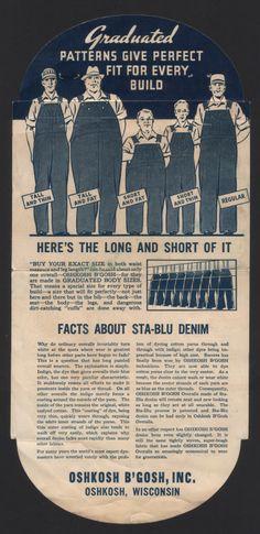 Oshkosh B'Gosh's Sta-Blu Denim Pocket Flasher (Back), early Vintage Jeans, Vintage Outfits, Industrial Workwear, Anti Fashion, Men's Fashion, Dapper Dan, Retro Ads, Historical Images, Old Ads