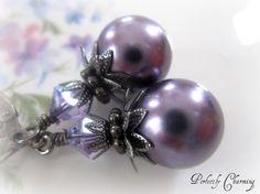 $14.5 gorgeous purple pearl earrings