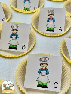 Muffin Man alphabet activity kindergarten, This activity focuses on letter recognition skills. Children can begin to recognize the differences in the letter shapes (visual discrimination). They can name the letters. You can focus on just uppercase or lowercase. Or you could mix these letters for older preschoolers, helping them master the letters. Alphabet Activities Kindergarten, Alphabet Games, Preschool Literacy, Kindergarten Classroom, Gross Motor Activities, Kids Learning Activities, Fun Learning, Nursery Rhyme Crafts, Nursery Rhymes Preschool