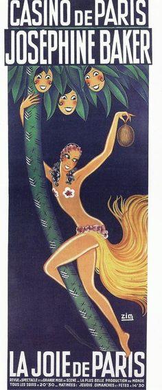 La Joie de Paris revue poster featuring Josephine Baker at the Casino de Paris, 1932-33