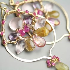 Gem Weave Arabesque Earrings in Pink Topaz Gold Rutile and Rose Quartz Statement Jewelry