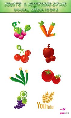 Free Fruit & Vegetable Social Media Icons - psdbird