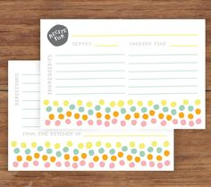 Bright Dots Recipe Cards by twopoochpaperie on Etsy https://www.etsy.com/listing/216672679/bright-dots-recipe-cards