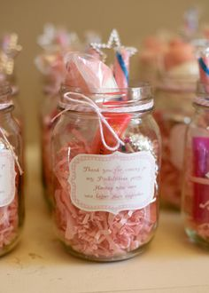 I like how all the party favors were put into Mason Jars, so sweet!