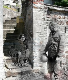 Dutch historian Jo Teuwisse creates these images by combining digitized photo negatives from the war with painstakingly framed photos of the same locations as they are today.