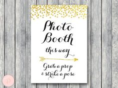 WD47c-Gold Photobooth Sign, Grab a prop and take a pose