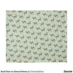 Buck Deer on Green Pattern Duvet Cover