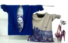saquito monkey azul + remera manga corta + sweater en lanilla nude ciudad