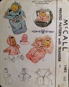 1940's Vintage Baby Bunting Bag Jacket Hat Bonnet McCall Sewing Pattern #1483