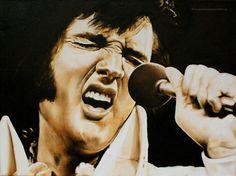 Schilderij Elvis Presley. Olieverf. Daisy van Montfort.