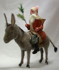 Antique Rare German Santa on Mechanical wheeled Donkey c1910   eBay
