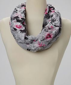 Look what I found on #zulily! Gray Floral Polka Dot Infinity Scarf #zulilyfinds