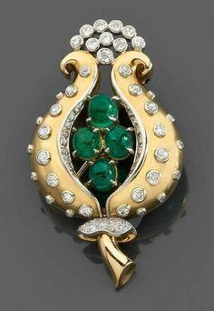 René Boivin. An emerald, diamond, platinum and gold brooch , Ca. 1947.