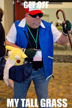 The perfect costume for older Poke'mon fans. That bearded Pikachu plushie makes me grin so hard!