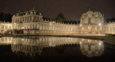 The Zwinger is a palace in Dresden, eastern Germany, built in Rococo style and designed by court architect Matthäus Daniel Pöppelmann. It served as the orangery, exhibition gallery and festival arena of the Dresden Court.