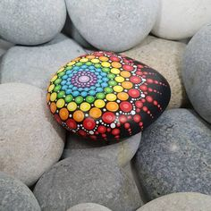 Your place to buy and sell all things handmade Chakra Painted Rock Mandala Stone Rainbow Stone Mandala Painted Rocks, Painted Rocks Craft, Mandala Rocks, Painted Sticks, Hand Painted Rocks, Stone Mandala, Painted Pebbles, Mandalas Drawing, Mandala Painting