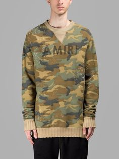 AMIRI MEN'S CAMOUFLAGE VINTAGE SWEATER   - CAMOUFLAGE - ROUND NECK - VINTAGE PRINT - RIBBED OUTLINES - 100% COTTON - MADE IN USA