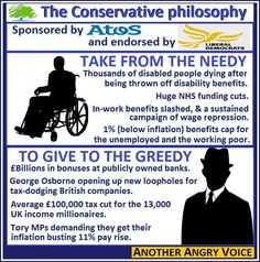 Conservative values: fund greedy bankers, cut tax for the rich, turn a blind-eye to tax evasion, get the rich richer. Kill off the suck, the poor, and the needy. Let them starve to death. Place fraudulent job advertisements, fiddle the figures. Eugenics....