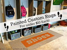 Painted rugs for under $10 each!  Outdoor rugs from Home Depot and some spraypaint give you instant impact!  From East Coast Creative Blog
