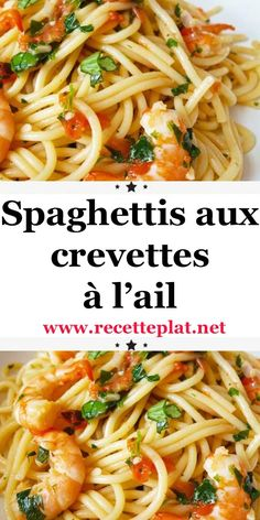 Recipe: Spaghetti with Shrimp & Garlic - huhnchenrezepte Italian Spaghetti Sauce, Lemon Spaghetti, Pasta With Meat Sauce, Homemade Spaghetti Sauce, Spaghetti Recipes, Homemade Sauce, Shrimp Spaghetti, Fish Recipes, Pasta Recipes