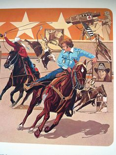 1980 Rodeo Lithograph - TEAM ROPERS Western  Nat'l Finals Rodeo Hesston Corp NOS #WesternMotif