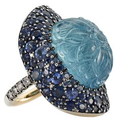 Stunning Hand Carved 30.54 Carat Aquamarine Sapphire Diamond Silver Gold Ring