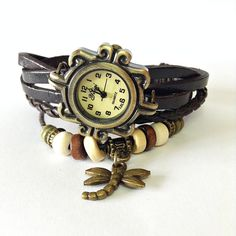 Wrap Watch , Vintage Style, Charm Leather Watch, Women Watches, Beaded Watch, Dragonfly Charm, Tribal, ethnic