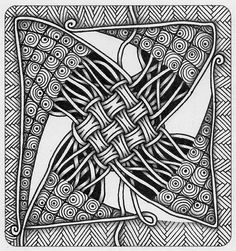 "Zentangle. В блоге ""Tickled to TANGLE"" задание ""It's a String Thing"" #43. Размер: 9х9 см. Гелевая ручка, карандаш."
